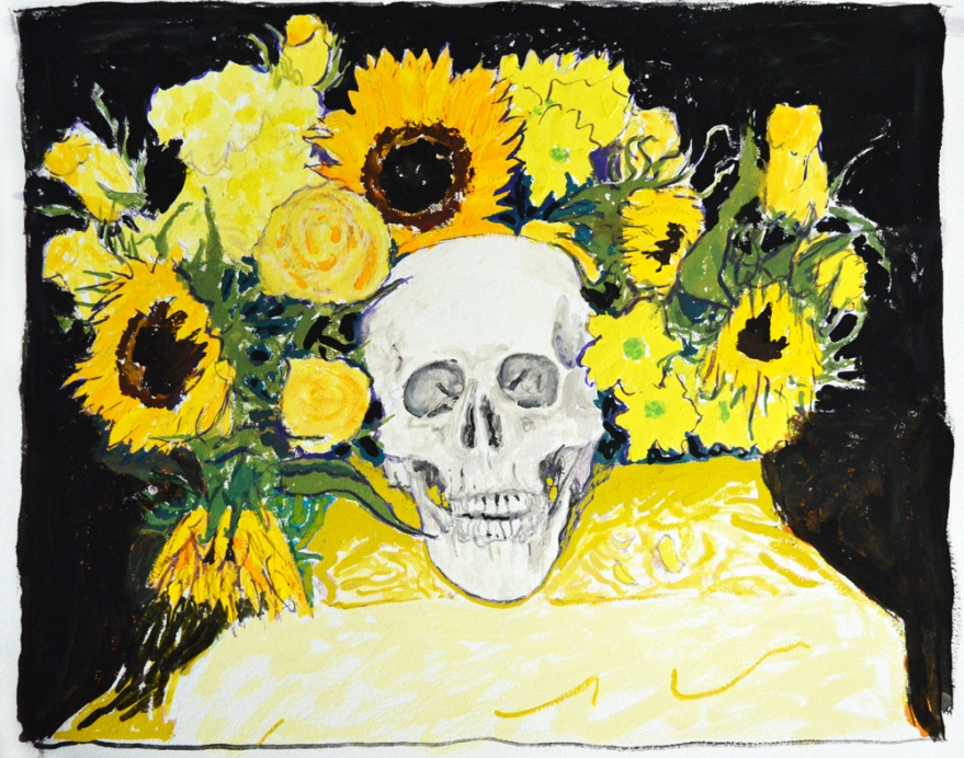 skull and yellow flowers small