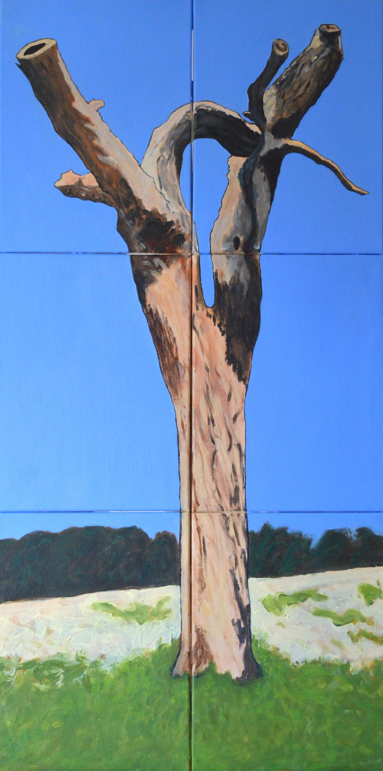 'Dead Tree, Blue Sky' - Acrylic on 6 canvases - 120x60x1.5cm, 2021